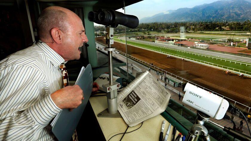 Michael Wrona calls a race at Santa Anita Park on Jan., 2015.