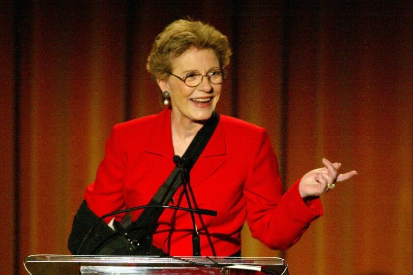 Patty Duke speaking about mental health issues at a 2003 event in Beverly Hills.