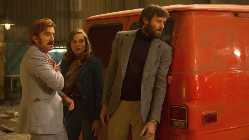 """From left, Sharlto Copley, Brie Larson and Armie Hammer star in """"Free Fire."""""""