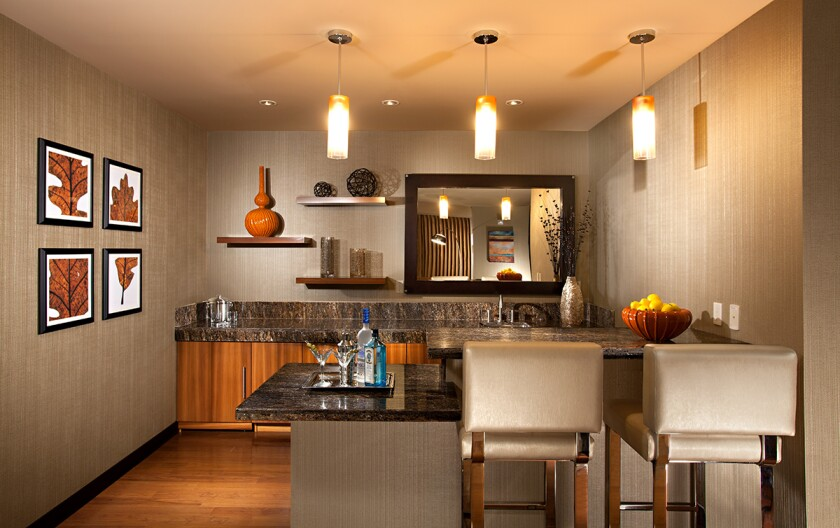 The Home Suite at Harrah's Resort Southern California has a spacious wet bar for entertaining.