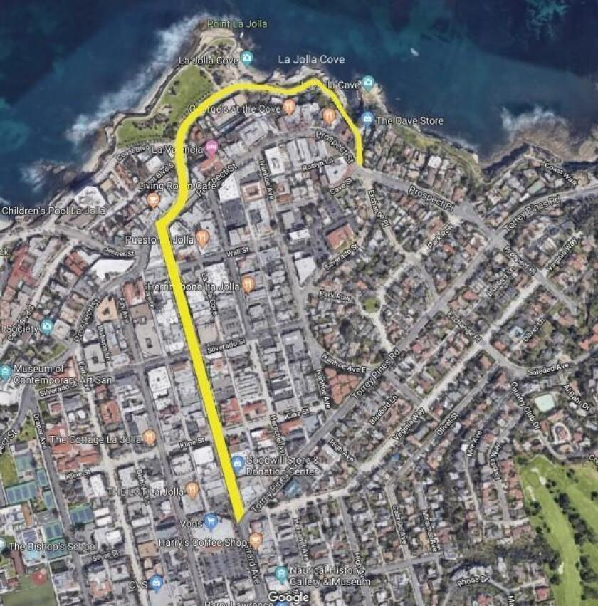 The yellow line demonstrates Jordan Howard's vision of a walking street, free of vehicles, in the Village of La Jolla.