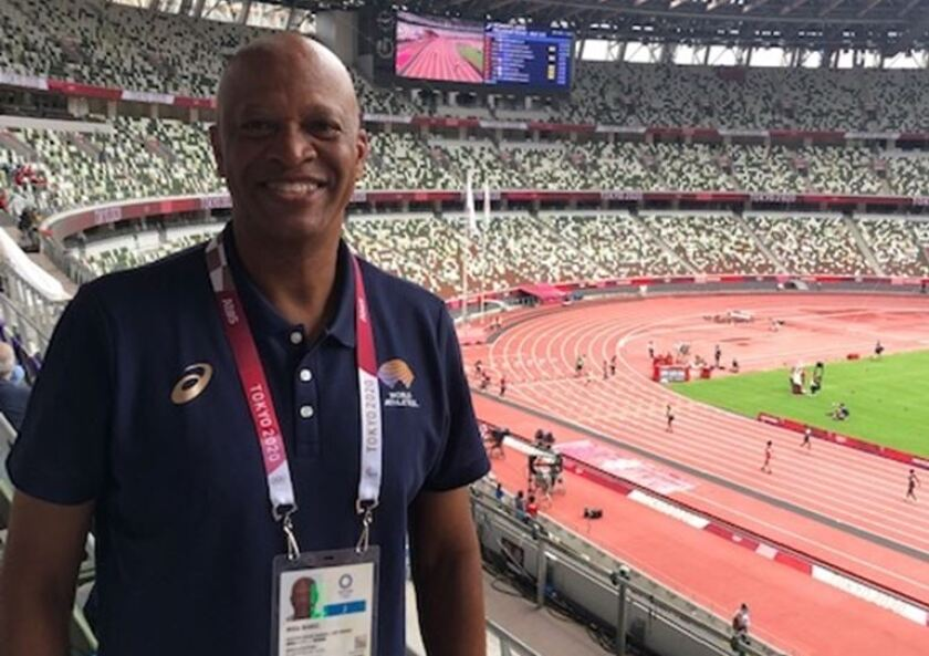 Willie Banks at the Tokyo Olympics.