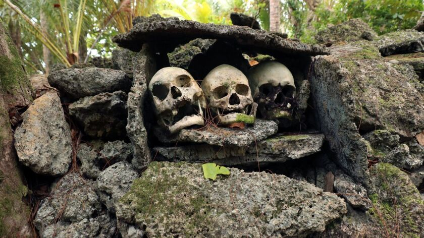 Skulls of deceased chiefs and decapitated enemies were openly displayed at Skull Island. Doug Hansen
