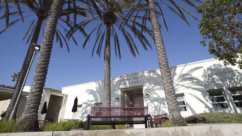 The west entrance to Laguna Beach High School.
