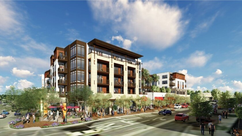 An artist's rendering of the five-story development proposed for downtown Vista by StreetLights Residential and JCG Development.