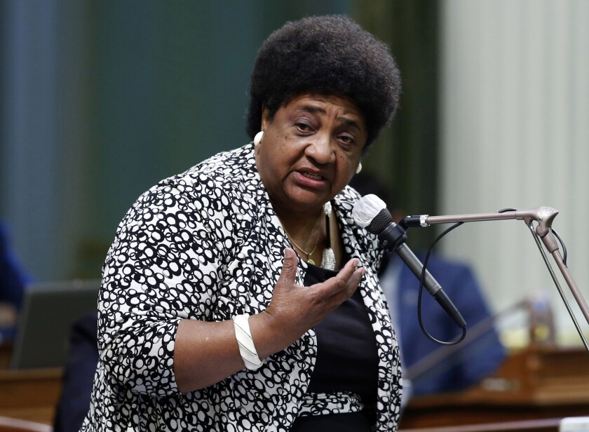 """FILE - In this June 10, 2020, file photo, Assemblywoman Shirley Weber speaks at the Capitol in Sacramento, Calif. Weber, now California secretary of state, said Friday, Sept. 10, 2021, she won't require a more rigorous audit of next week's recall election results that could remove Gov. Gavin Newsom from office, saying concerns about the security of the state's election management system are """"inaccurate."""" (AP Photo/Rich Pedroncelli, File)"""
