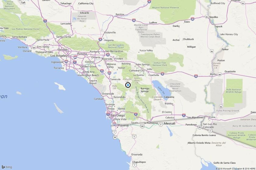 A map shows the approximate location of the epicenter of Thursday morning's quake near Holcomb Village, Calif.