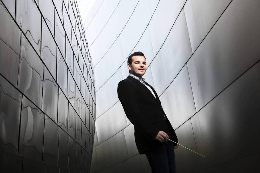 Resident Conductor of the L.A. Phil Lionel Bringuier in the garden area of Disney Concert Hall in downtown L.A.