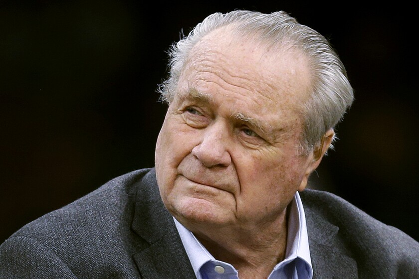 Celtics great Tommy Heinsohn is shown before a preseason game in Boston on Sept. 30, 2018.