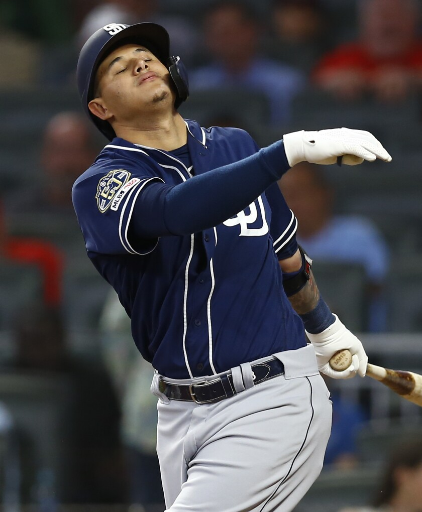 Manny Machado reacts after striking out in the sixth inning during Monday's game against the Atlanta Braves at SunTrust Park.