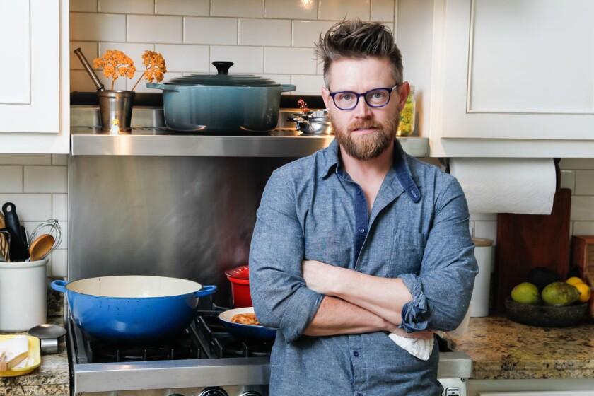 Chef Richard Blais, of Top Chef fame, cooking at his home in Del Mar, California. (Eduardo Contreras / Union-Tribune)