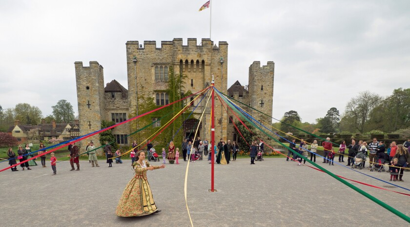The maypole figures into many May Day celebrations, including this one at Hever Castle in England.