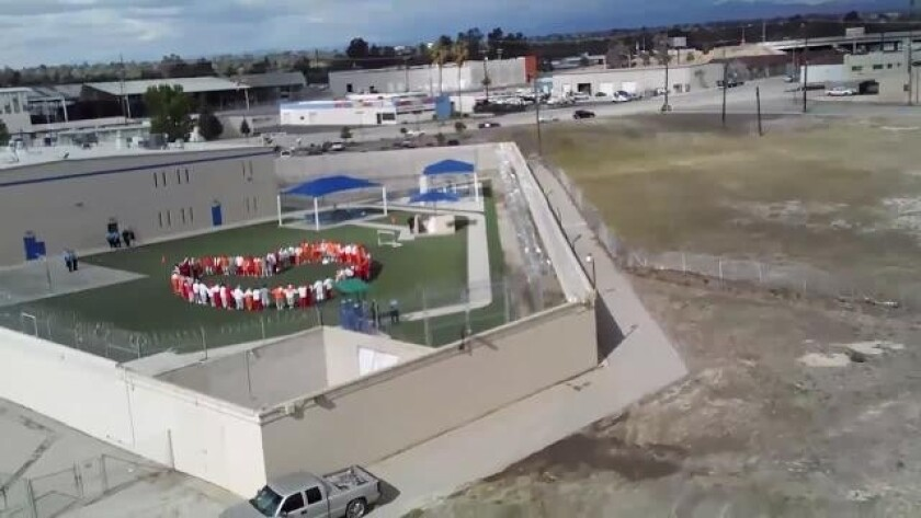 An overhead view of the Mesa Verde immigration detention center in Bakersfield