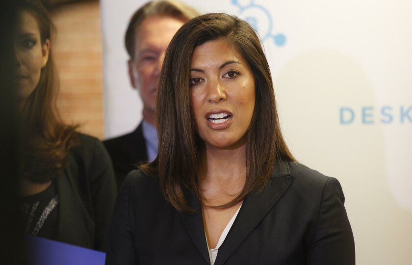 SAN DIEGO, CA-Nov. 5, 2015:  Denise Gitsham announced that she will run against 52nd district incumbent congressman Scott Peters running as a Republican at an event in Little Italy on Thursday, November 5. JOHN GIBBINS / San Diego Union-Tribune)