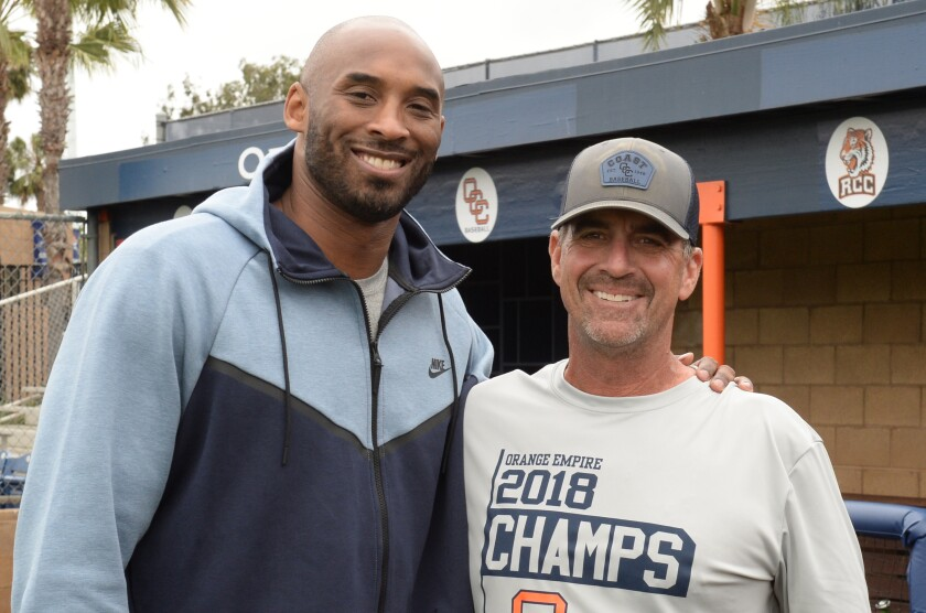 Lakers legend Kobe Bryant and Orange Coast College baseball coach John Altobelli in an undated photo. Both were among nine people killed in a helicopter crash Jan. 26, 2020, in Calabasas.