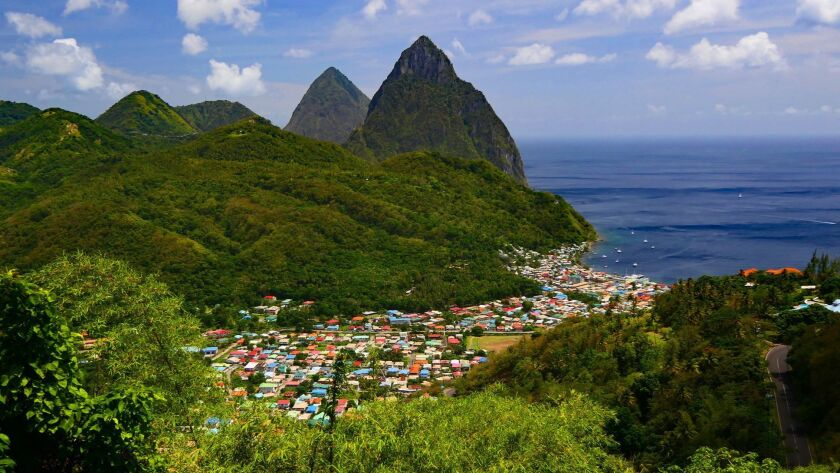 The Beacon restaurant provided a fabulous view of the town of Soufriere and the Pitons. Doug Hansen