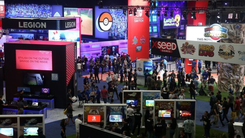 LOS ANGELES, CA-JUNE 12, 2019: People attend the annual Electronic Entertainment Expo, E3, at the Lo