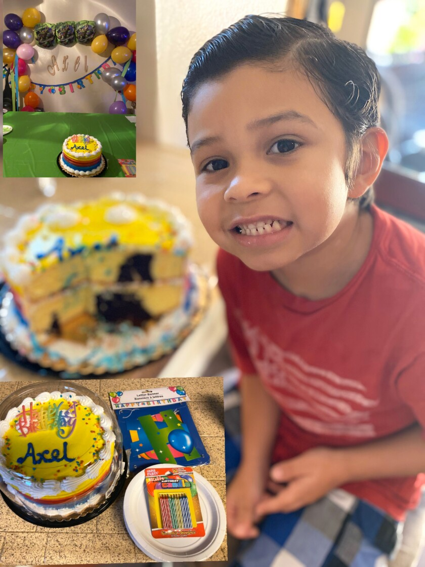 A collage of photos of Axel Magna of Chula Vista celebrating his seventh birthday on Wednesday, March 25, thanks to the generosity of neighbors on the family's Nextdoor app.