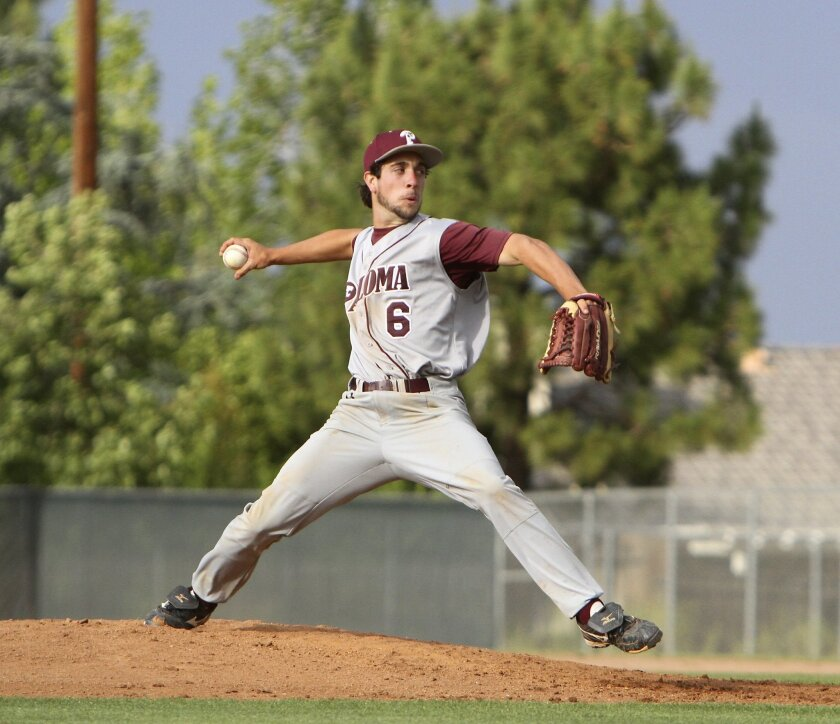 Paloma Valley's Ryan Edinger, pitches during their 10-1 win at Lakeside High School Tuesday.