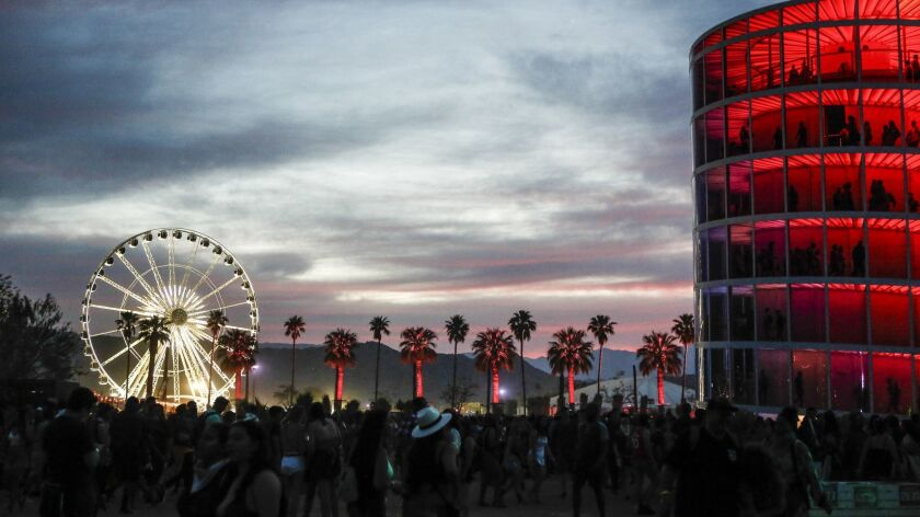 The sun sets on the Coachella grounds in 2018.