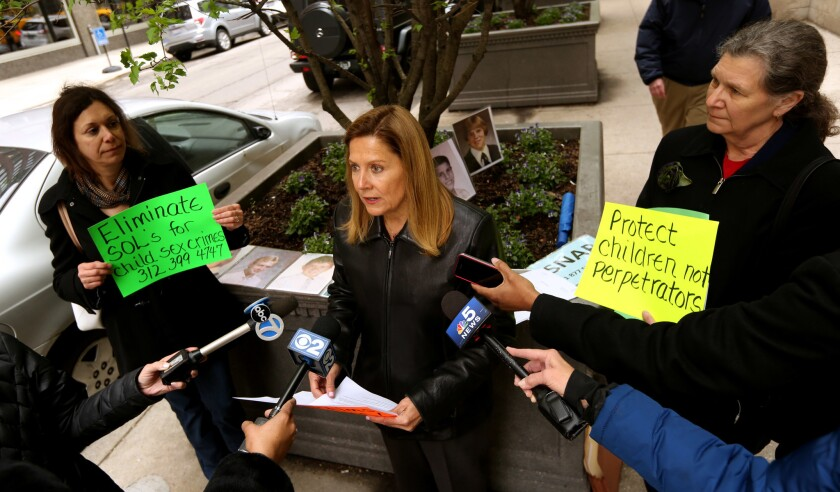 Barbara Blaine, founder and president of SNAP speaks outside the offices of the Chicago Archdiocese Thursday April 28,2016 a day after Dennis Hastert's sentencing.