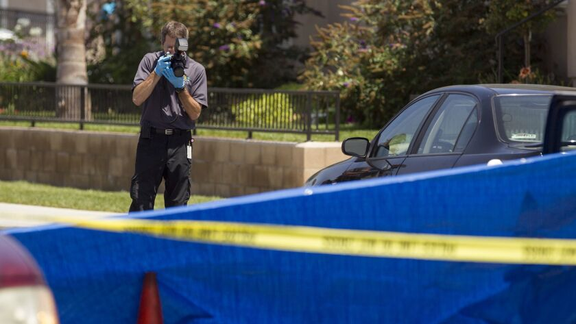HUNTINGTON BEACH, CA., AUGUST 3, 2013 - A crime scene investigation specialist with the Orange Count