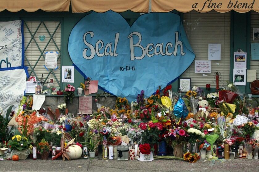 A makeshift memorial to the eight people killed in the 2011 shooting at a Seal Beach salon.