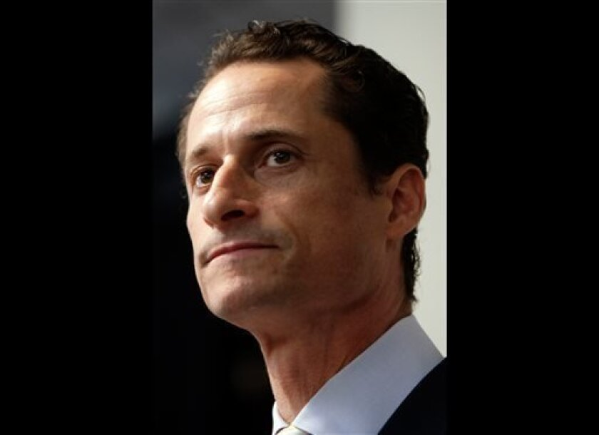 "FILE - In a June 16, 2011 file photo, Anthony Weiner speaks to the media during a news conference in New York. Former U.S. Rep. Weiner, who resigned over a sexting scandal in 2011, says he's weighing a run for New York City mayor this year. The Democrat tells New York Times Magazine  ""it's now or m"