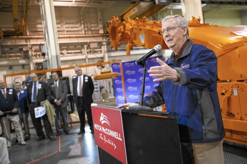 """""""We all know having the highest corporate tax rate in the industrialized world is a job exporter,"""" said incoming Senate Majority Leader Mitch McConnell (R-Ky.), shown above at a campaign stop before the elections."""