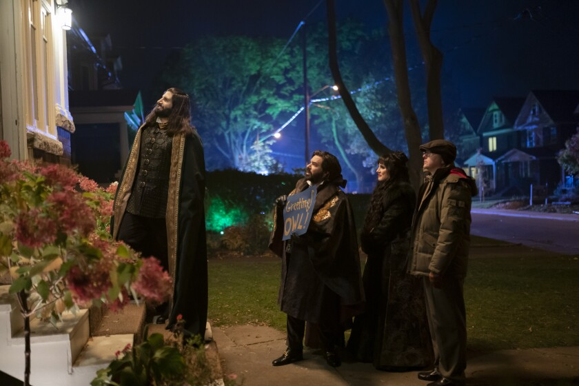 """The vampires of FX's """"What We Do in the Shadows"""" show up for their neighbors' Super Bowl bash."""