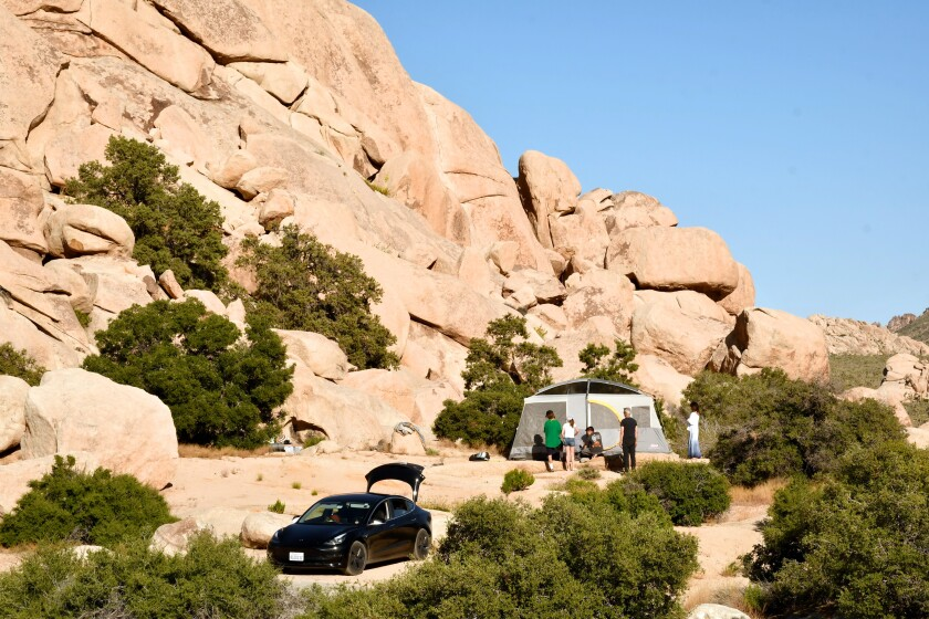 The Hidden Valley Campground, surrounded by dramatic boulders.