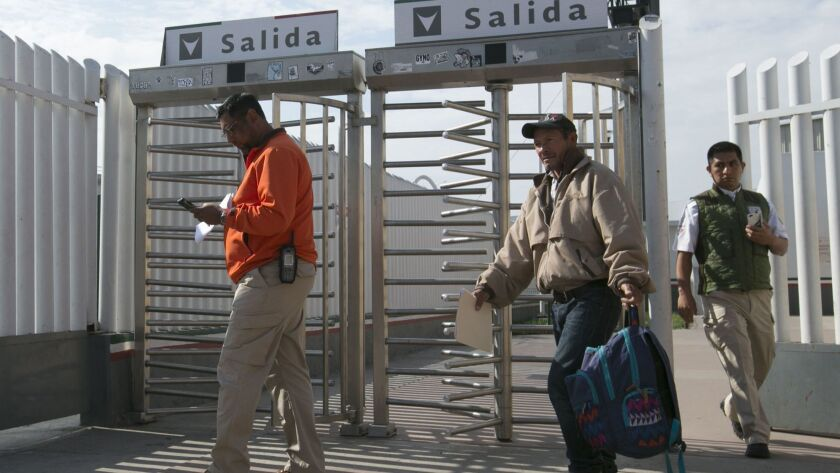 "The first asylum seeker to be returned to Tijuana under President Trump's Remain in Mexico program in January. The man's first hearing will be next week, but because of a ""glitch"" in the system, some asylum seekers had their hearings Thursday."