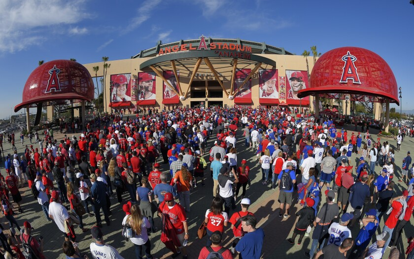 Fans line up outside Angel Stadium on Opening Day 2016.