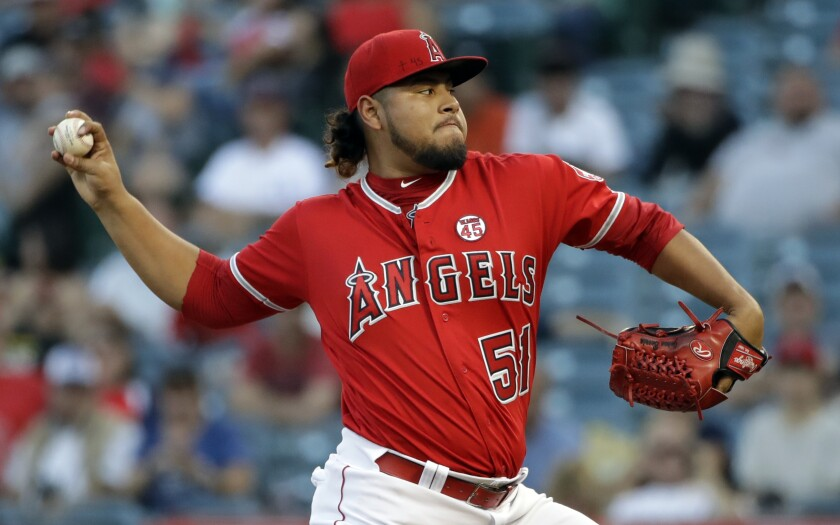 Angels starter Jaime Barria delivers a pitch against the Rays on Sept. 14, 2019.