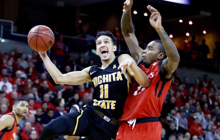 Landry Shamet drives to the basket against Cincinnati during Wichita State's 76-72 win on Feb. 18, 2018.