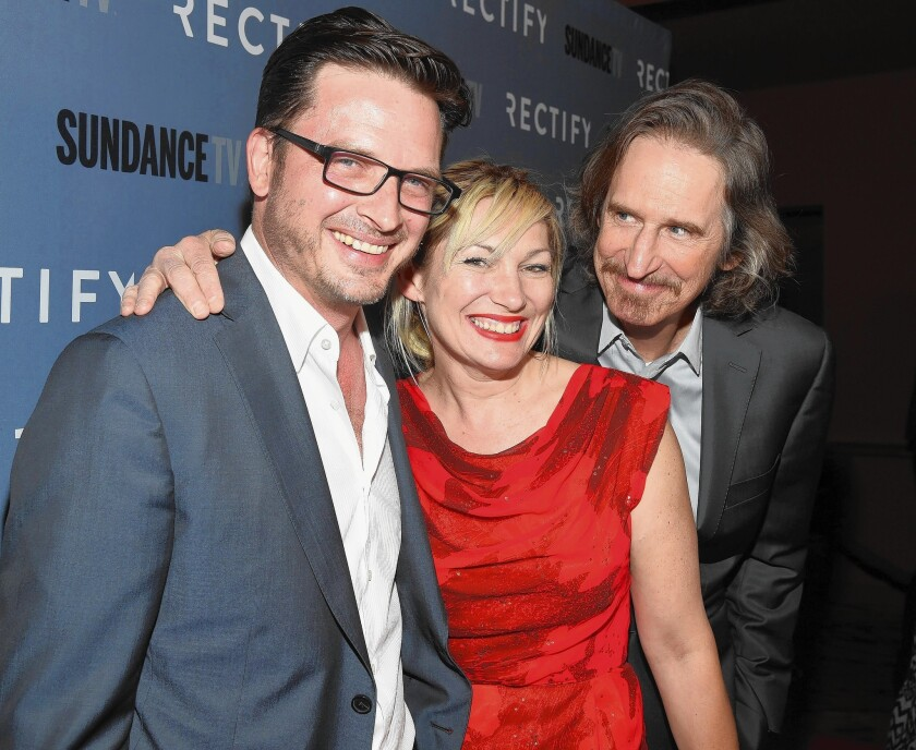 """Actor Aden Young, left, Loene Carmen and creator Ray McKinnon at the Los Angeles premiere of Season 2 of Sundance Channel's """"Rectify."""""""