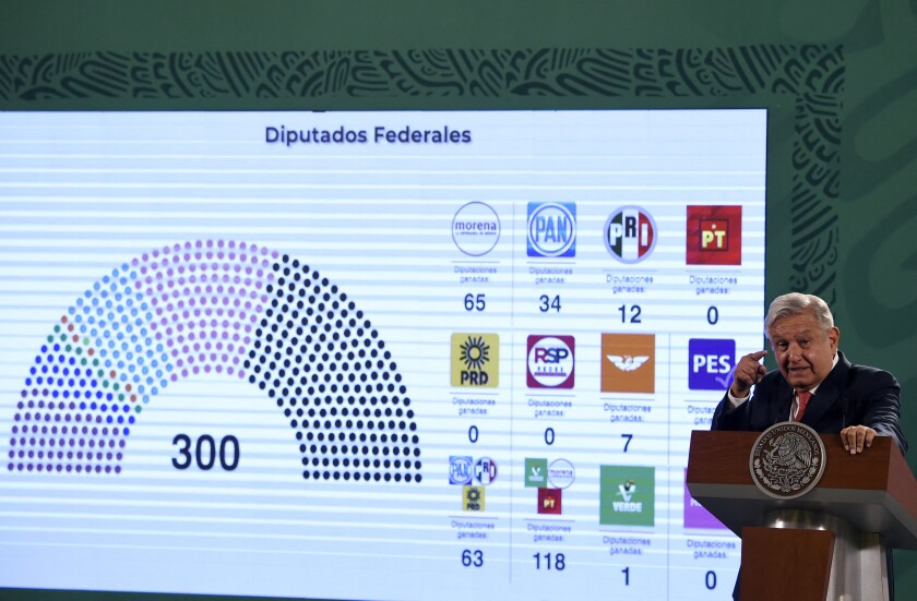 Mexican President Andres Manuel Lopez Obrador speaks about the results of Sunday's midterm elections.