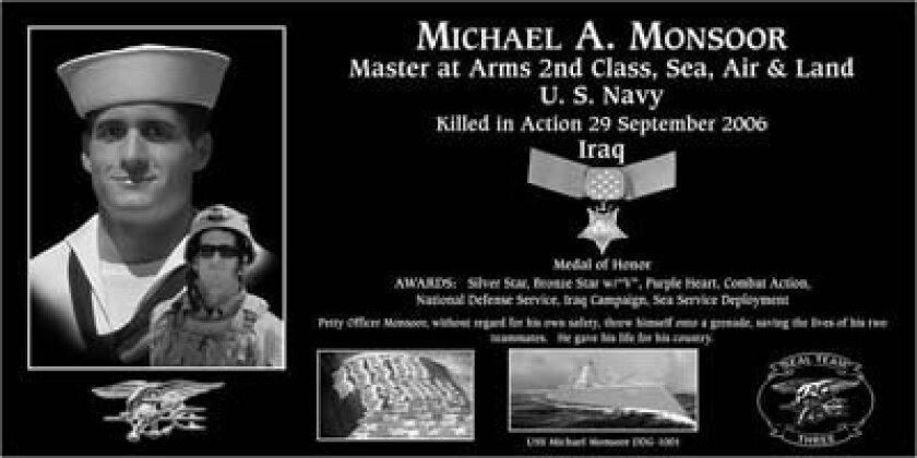 A plaque honoring Medal of Honor recipient Michael A. Monsoor will be presented at the Mount Soledad tribute on Nov. 6. Photo: Courtesy