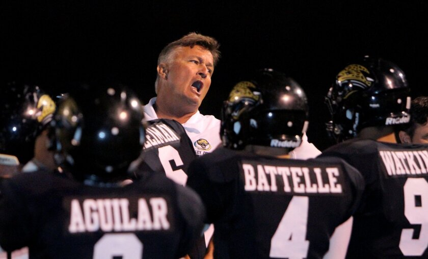 Valley Center coach Rob Gilster gets his players' attention in the Jaguars' 24-7 win over Lincoln.