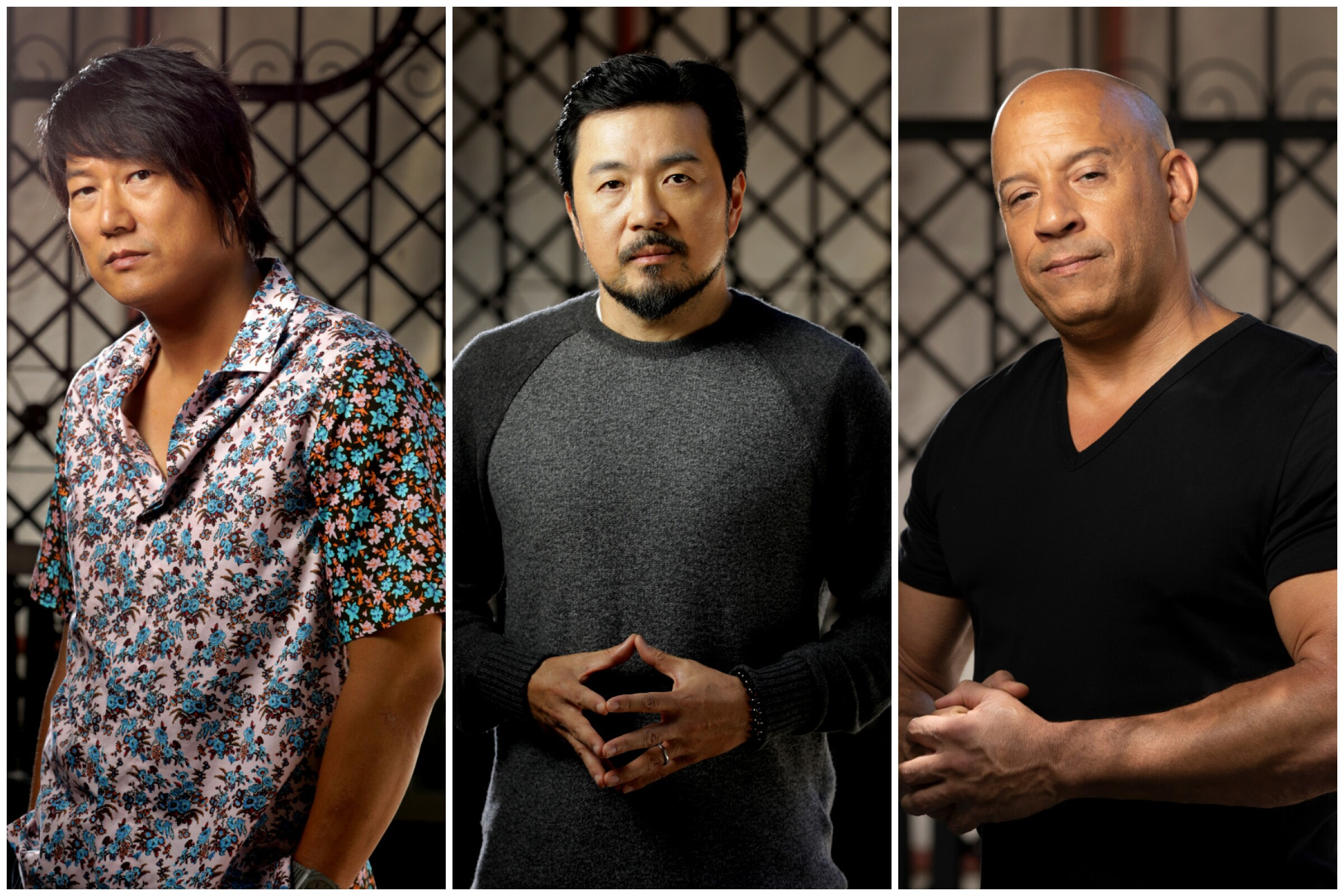 """""""Fast' family reunited in """"F9,"""" from left: Sung Kang (Han), director Justin Lin and Vin Diesel (Dominic Toretto)."""