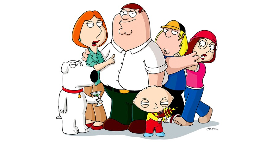 """Griffin family characters from the Fox animated series """"Family Guy"""" are shown. From left, Brian, Loi"""