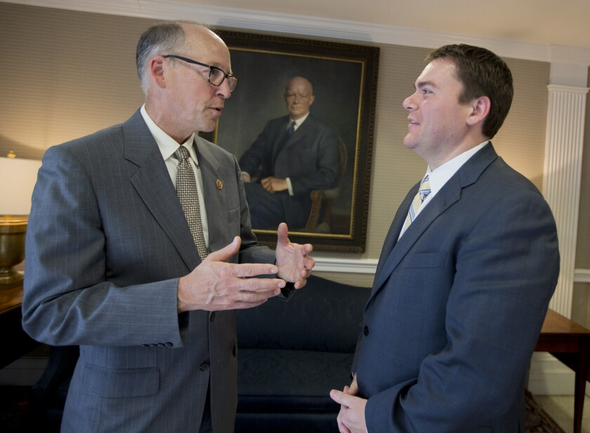Rep. Greg Walden (R-Oregon), left, speaks with congressional candidate Carl DeMaio earlier this year. Walden, chair of the National Republican Congressional Committee, will stump for DeMaio and some other GOP hopefuls in California next week.