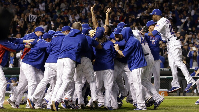 The Cubs won the division series with a 6-4 victory Tuesday and will advance to the National League Championship Series.)