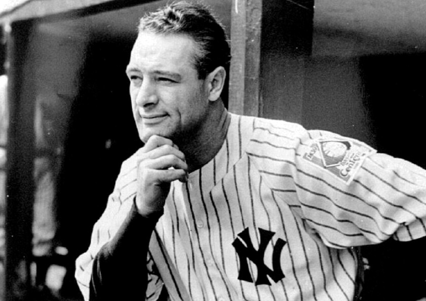 Lou Gehrig stands in the dugout at Yankee Stadium in 1939.