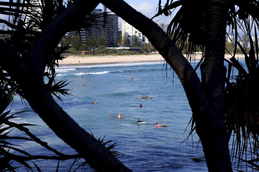Surfers in the water off of Australia's Gold Coast