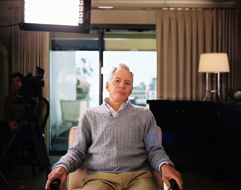 """Robert Durst is photographed on a set for HBO's documentary series """"The Jinx: The Life and Deaths of Robert Durst."""""""