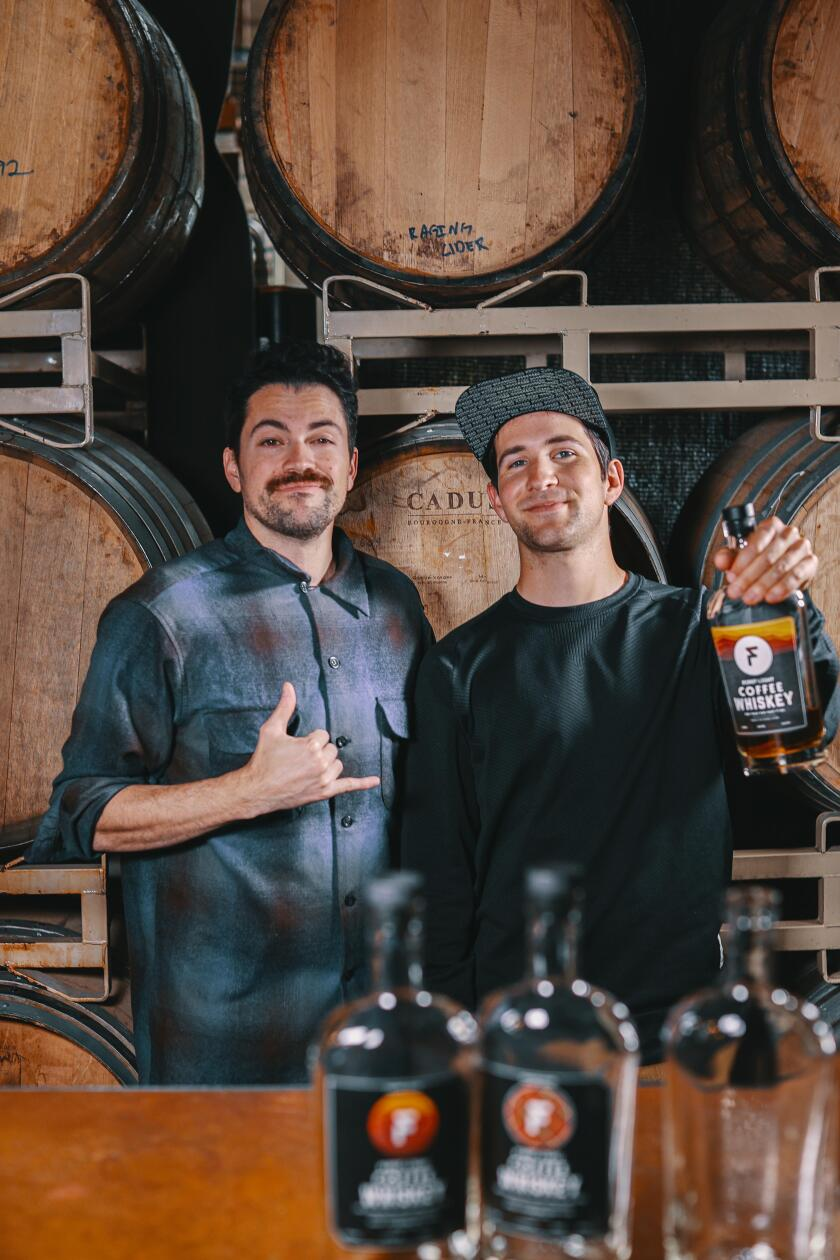 Ryan Espinoza, left, and David Elizondo of First Light Coffee Whiskey
