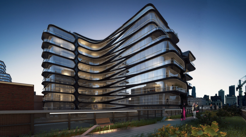 A rendering of the New York condos designed by Zaha Hadid.