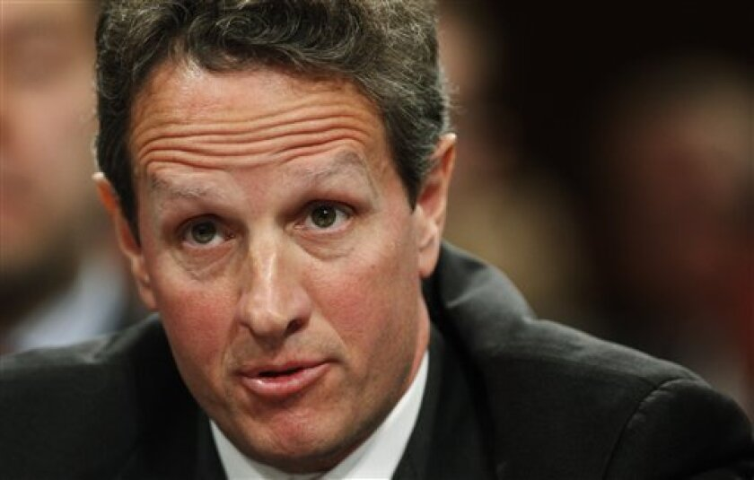 Treasury Secretary Timothy Geithner testifies on Capitol Hill in Washington, Wednesday, Dec. 2, 2009, before the Senate Agriculture Committee hearing on over the counter derivatives and efforts to address systemic risk in the financial sector. (AP Photo/Manuel Balce Ceneta)