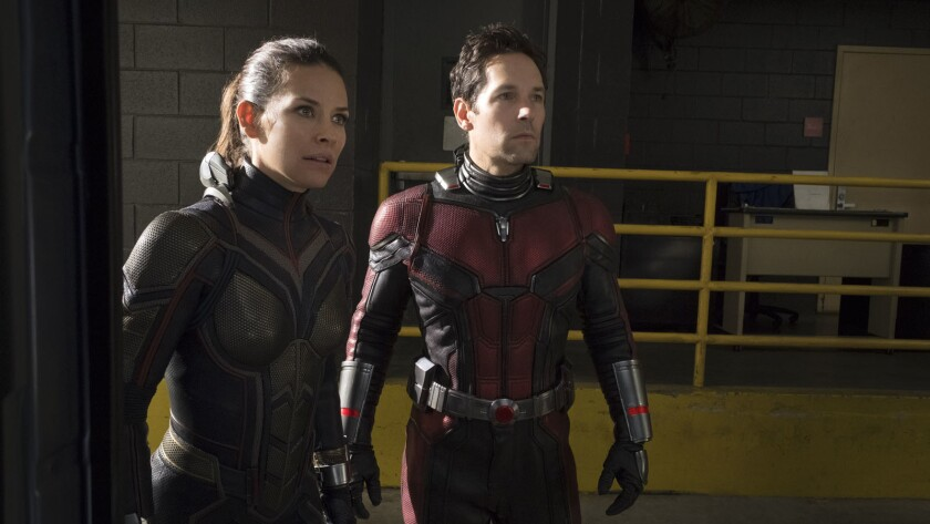 (L-R) - The Wasp/Hope van Dyne (Evangeline Lilly) and Ant-Man/Scott Lang (Paul Rudd) in a scene fro